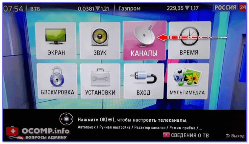 Каналы (меню телевизора LG)