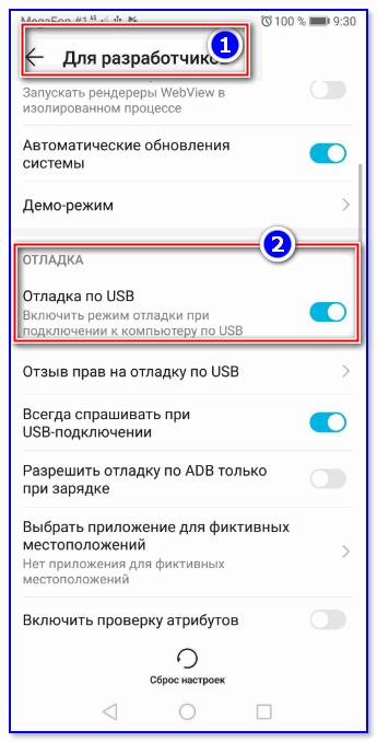Отладка по USB включена (меню для разработчиков)