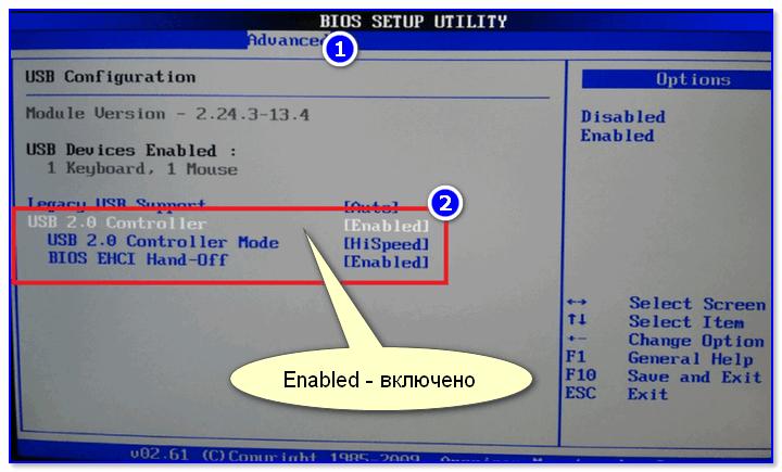 Включены ли USB-порты в BIOS