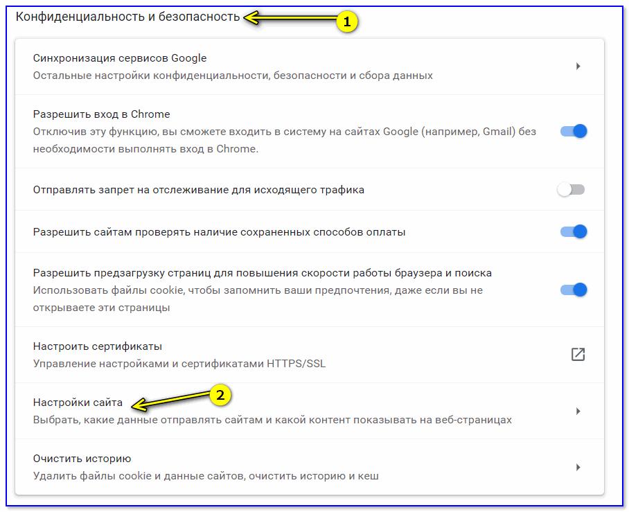 Настройки сайта — Chrome