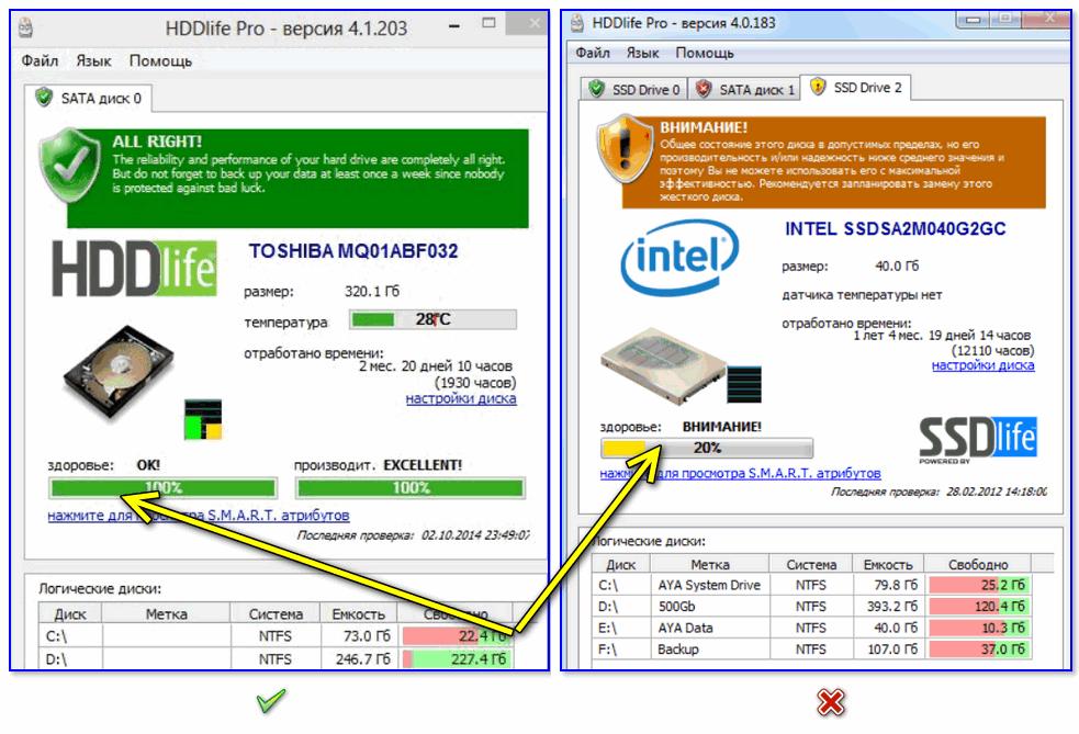 Слева — с диском все в порядке, справа — надежность и производительность под вопросом