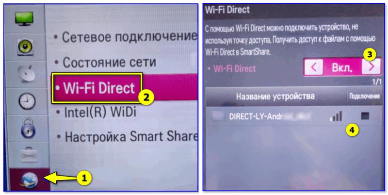 Wi-Fi Direct — настройка ТВ от LG