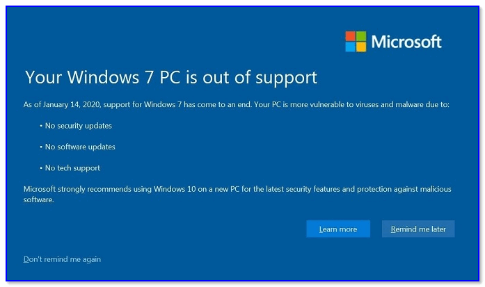 Your Windows 7 PC is out of support — стало появляться уведомление