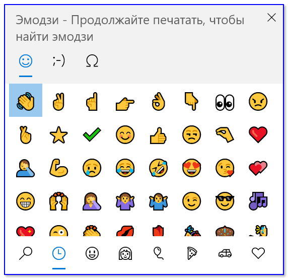Эмодзи-панель (Windows 10)