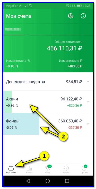 Мои счета — акции, фонды
