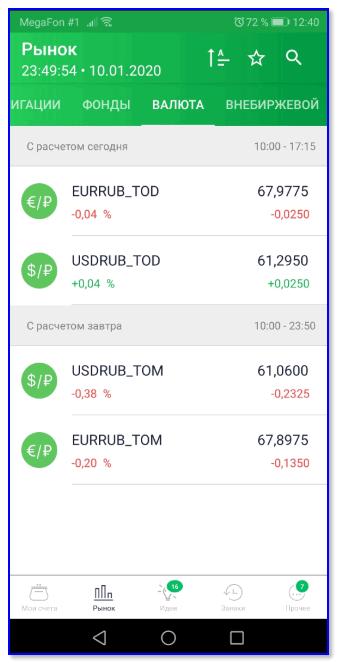 Рынок — валюта