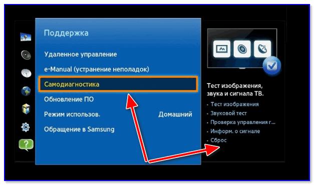 Самодиагностика - сброс (ТВ от Samsung)