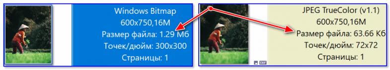 Сравнение форматов BMP и JPG: обратите внимание на размер файла