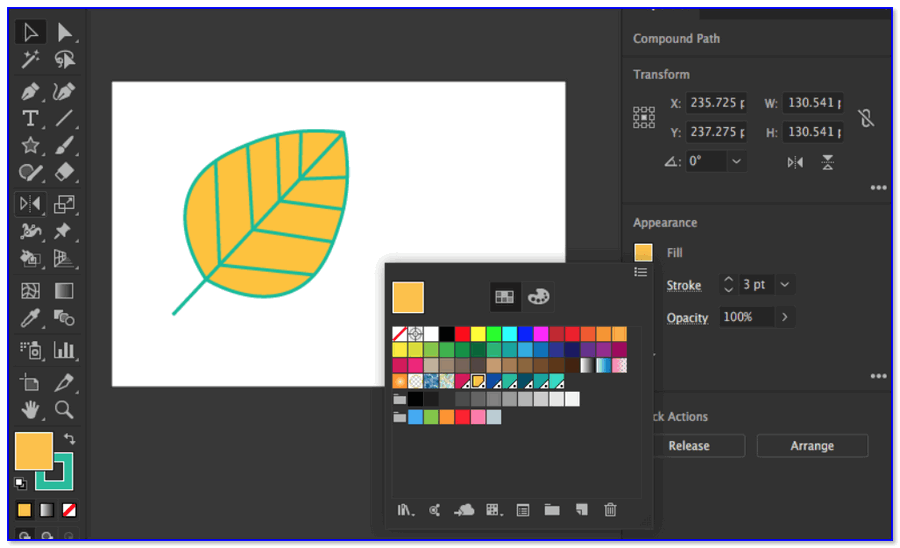Adobe Illustrator — скрин окна
