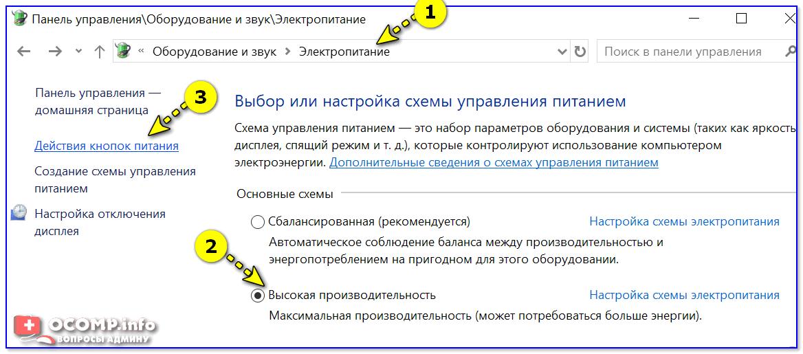 Электропитание — Панель управления