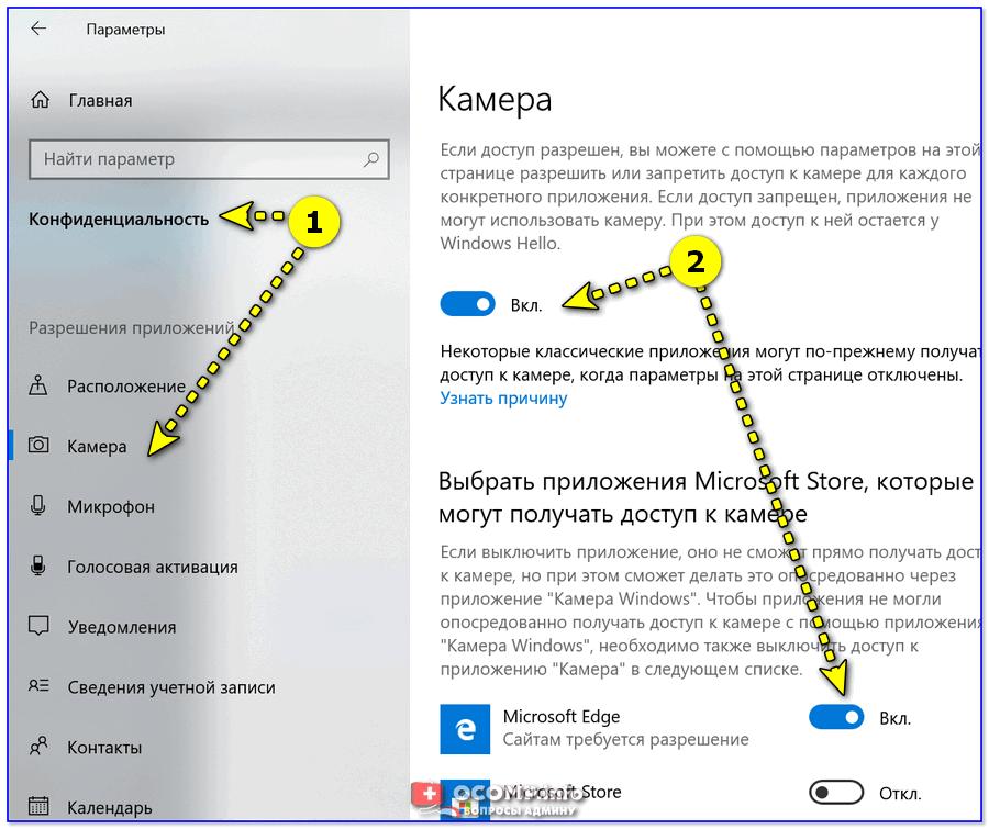 Конфиденциальность - камера (ОС Windows 10)