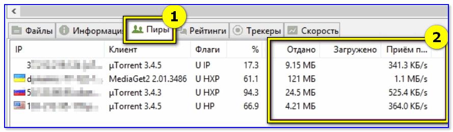 Пиры - скрин из uTorrent