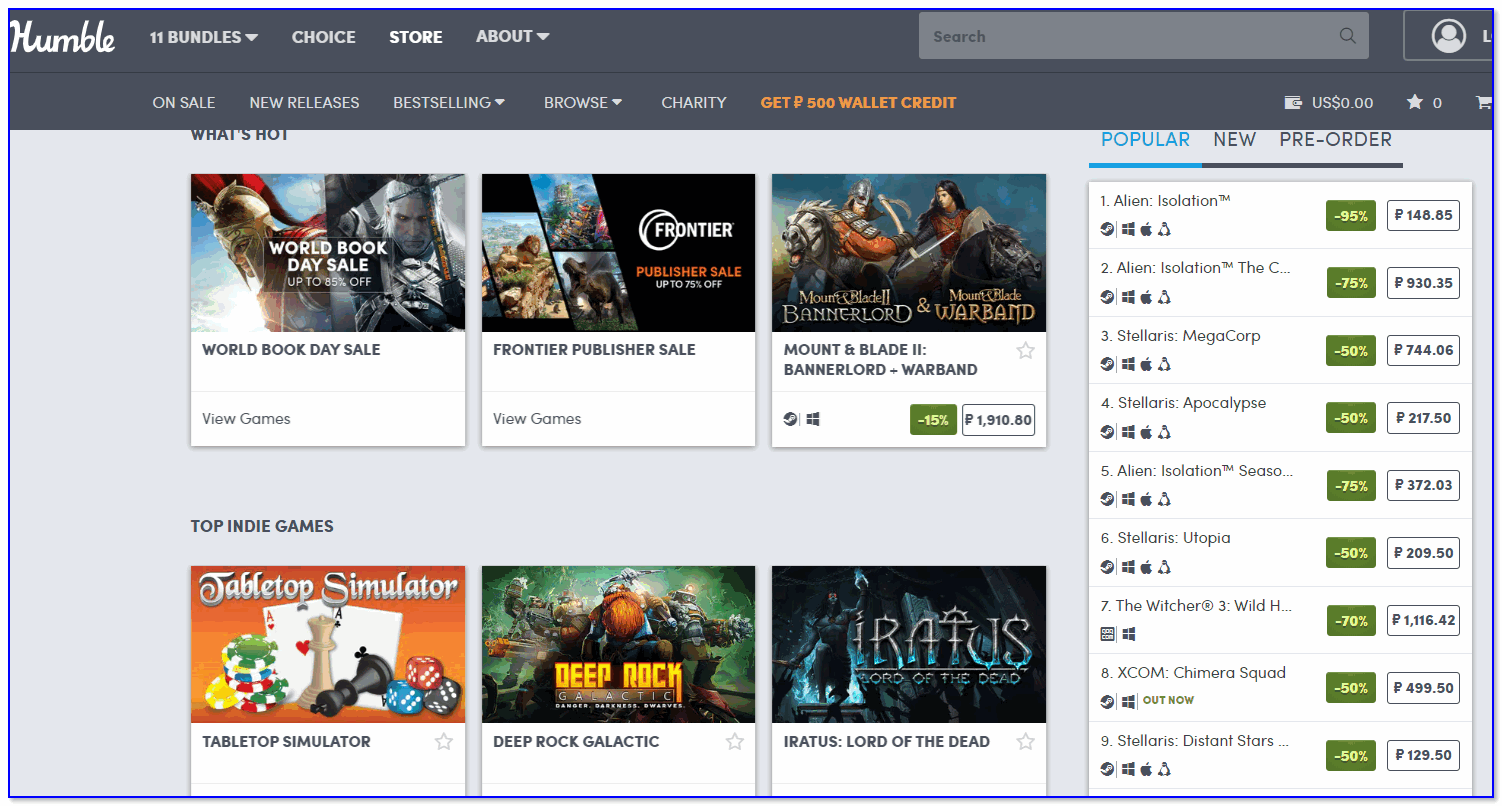 Скрин с сайта Humble Bundle