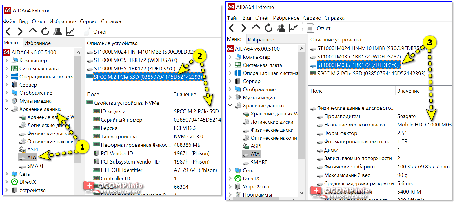 "AIDA 64 — вкладка ""хранение данных/ATA"""