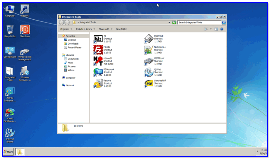 AOMEI PE Builder — скриншот окна