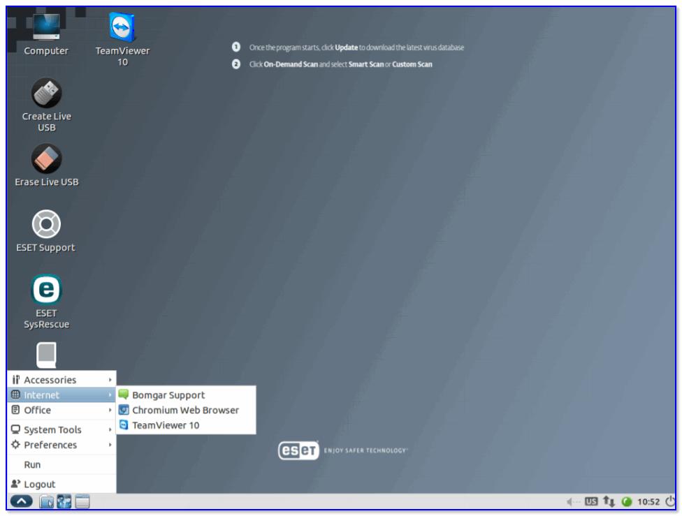 ESET NOD 32 LiveCD — скриншот