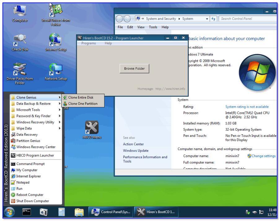 Hiren's BootCD PE — скриншот