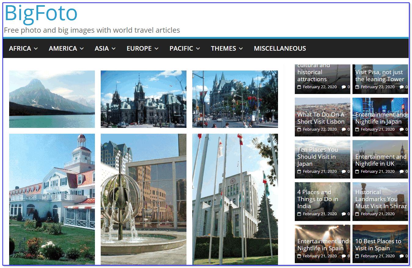 Скриншот сайта Bigfoto