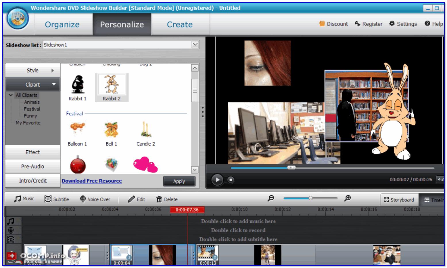 Wondershare DVD Slideshow — пример работы с программой