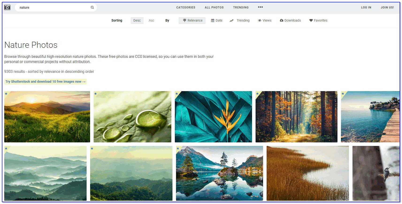 stocksnap — раздел с фотографиями природы (хорошие фоны на раб. стол, кстати)