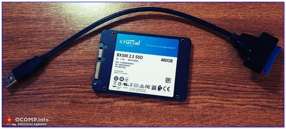 SSD накопитель и переходник для его подключения к USB