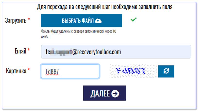 Выбор файла и ввод адреса почты (Скриншот с сайта