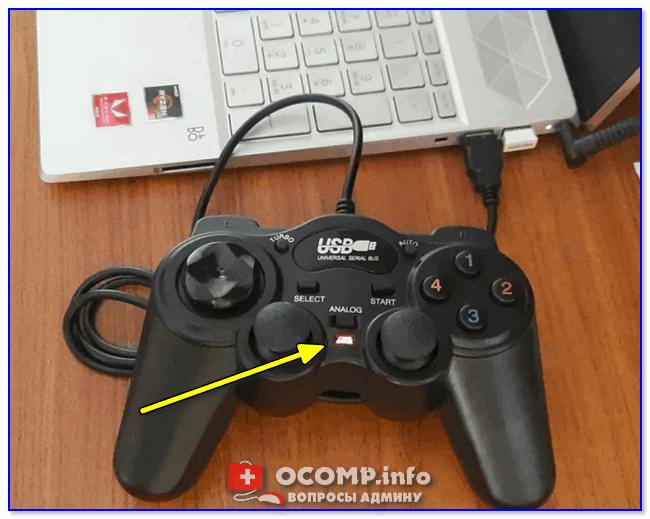 При подключении к USB — на джойстике начал гореть светодиод