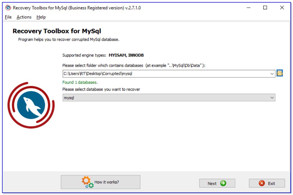 Recovery Toolbox for MySQL — скриншот главного окна программы