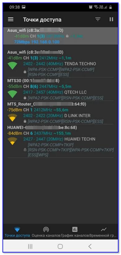 Точки доступа — приложение Wi-Fi Analiz