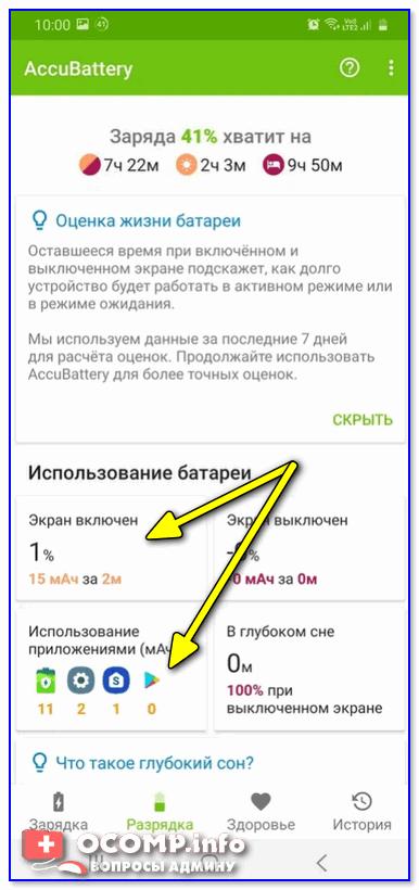 Использование батареи (приложение Accu Battery)