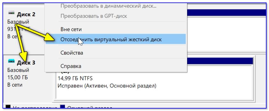 Отсоединить виртуальный диск