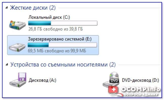 Зарезервировано системой - диск E