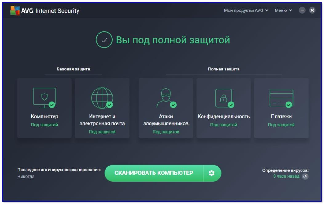 AVG Internet Security — главное окно программы
