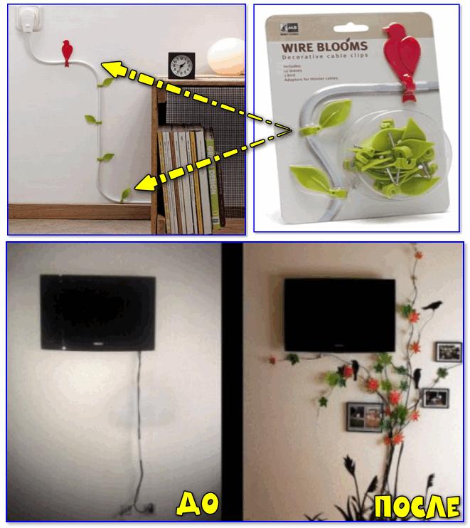 Пример маскировки проводов от телевизора с помощью спец. набора декора