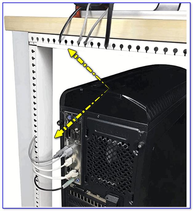 Провода компьютера были спрятаны в спец. консилер