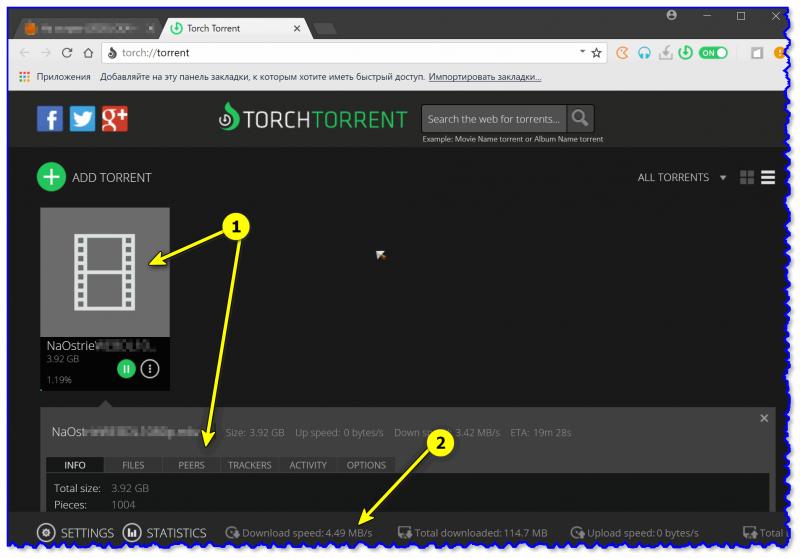 Окно со списком торрентов / Torch браузер