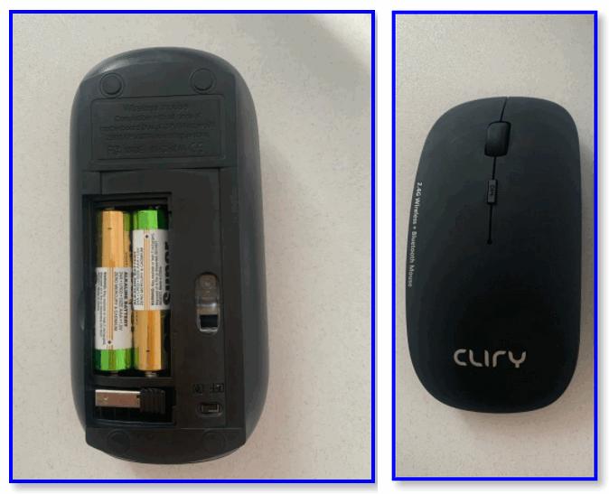 Установка батарек и вкл. мыши