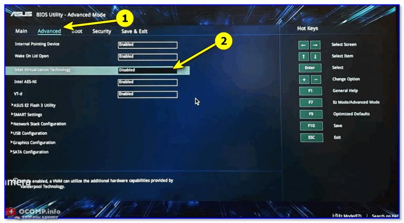 Intel Virtualization Technology - Disabled