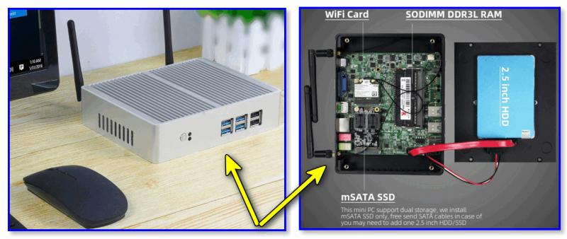 Мини-ПК XCY, Intel Core i7 4500U/i5 7200U/i3 7100U, без кулера, поддержка Windows/Linux, Wi-Fi 300 м, Gigabit Ethernet, VGA, HDMI-совместимый (пример с AliExpress)