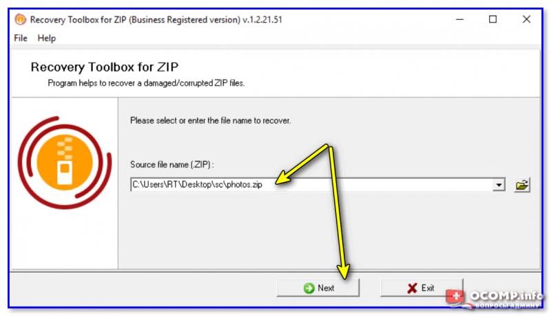 Recovery Toolbox for ZIP — скриншот работы программы