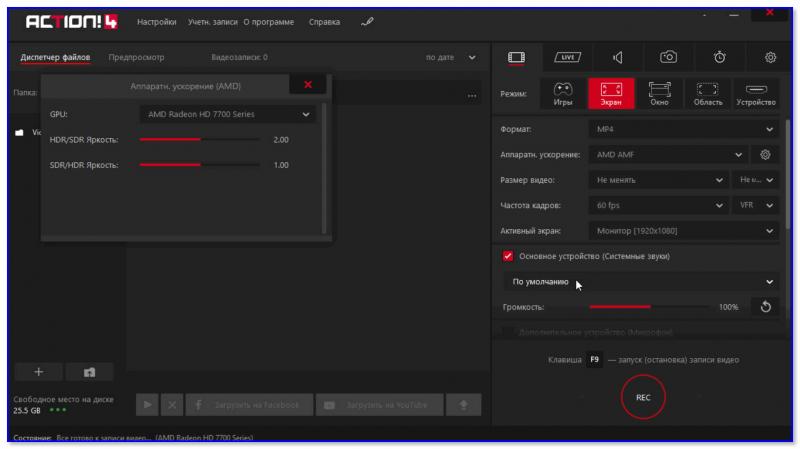 Mirillis Action! — скриншот окна настроек программы