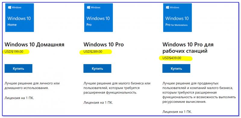 Стоимость разных копий ОС Windows 10 — скрин с сайта Microsoft