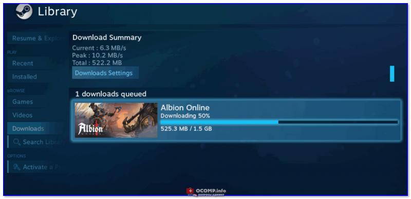 Установка игры в Steam