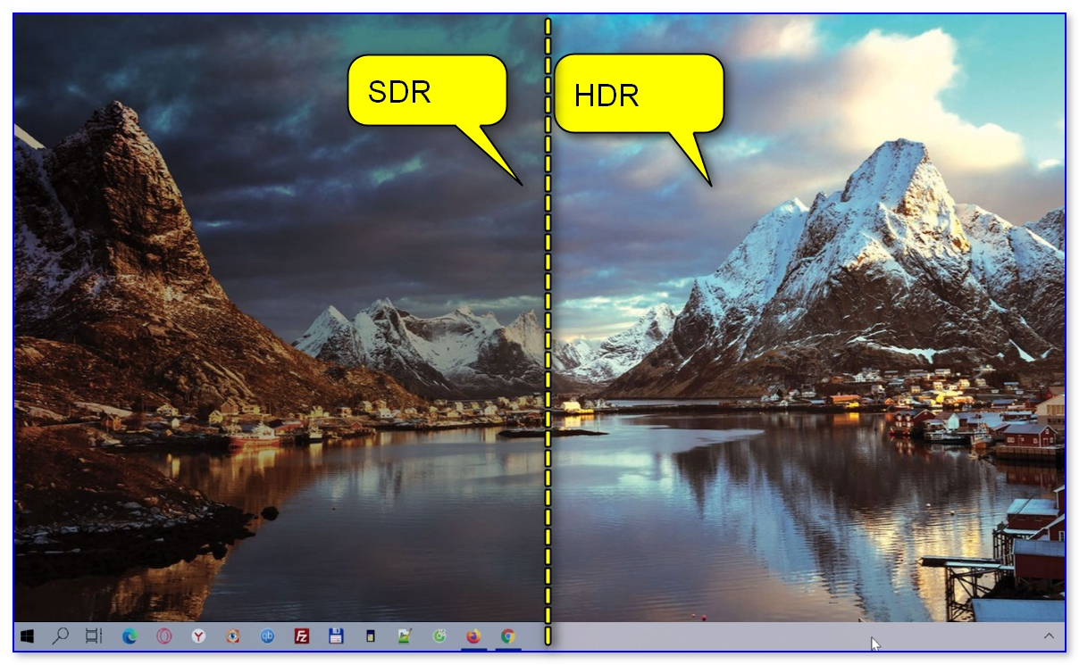 Разница в картинке SDR VS HDR (природа, горы, ландшафт)
