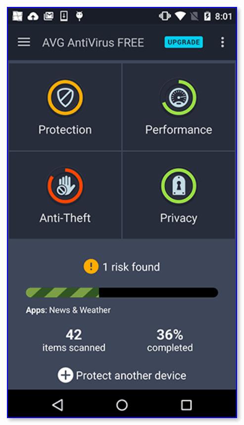AVG AntiVirus — панель мониторинга: найдена 1 угроза, есть риск!