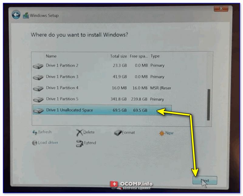 Выбор раздела диска под установку Windows 11