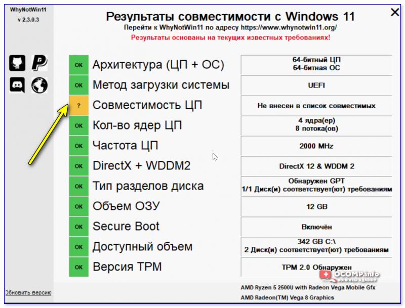 Не внесен в список совместимых - проверка на то, можно ли на ПК установить Windows 11