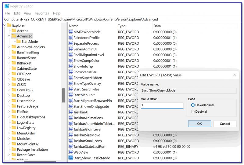 Start_ShowClassicMode — имя параметру. Присваиваем ему 1