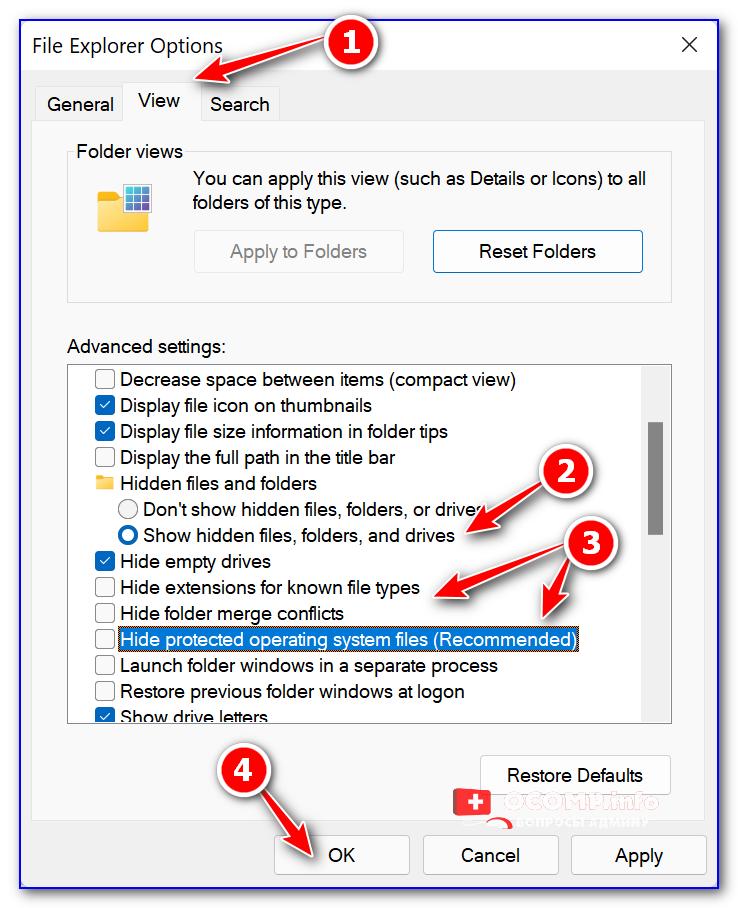 Windows 11 — снимаем галочки с опций Hide