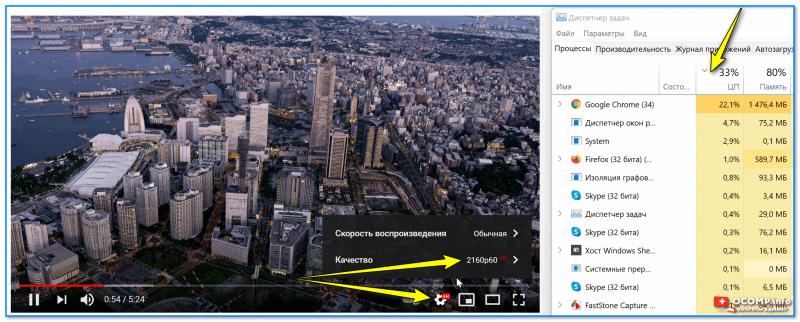 Качество видео 4k 60fps, нагрузка на ЦП 30-40%